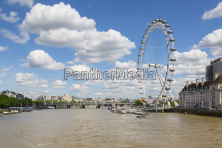 view of london eye and river