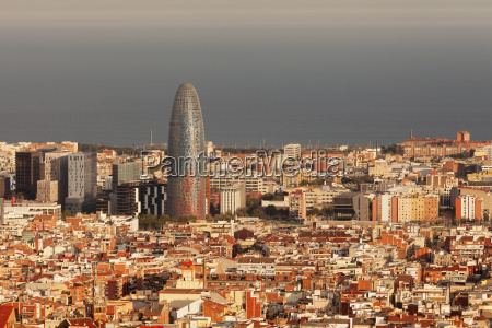 view over barcelona with torre agbar