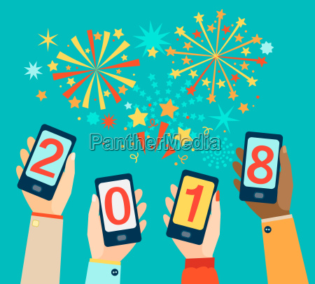 hands with mobiles showing 2018
