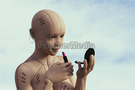robot woman with pierced face applying