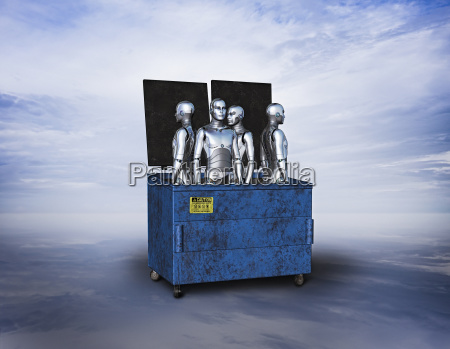 obsolete robots in garbage dumpster