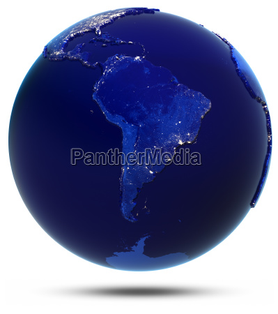 south america city lights 3d rendering