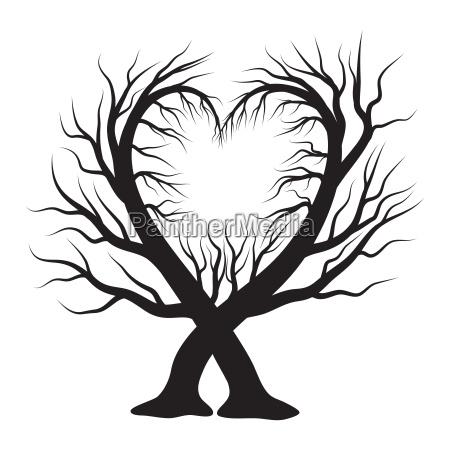 heart tree vector symbol icon