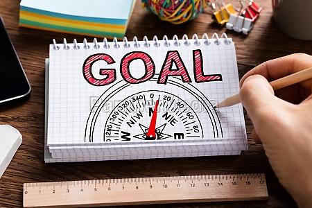 man drawing compass goal guidance concept