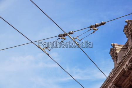 streetcars or tram electric wires close