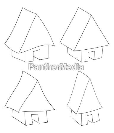 house web icon silhouette set vector