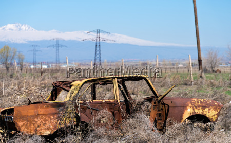 abandoned wreckage of an yellow soviet
