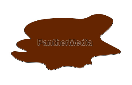 puddle of chocolate mud spill clipart