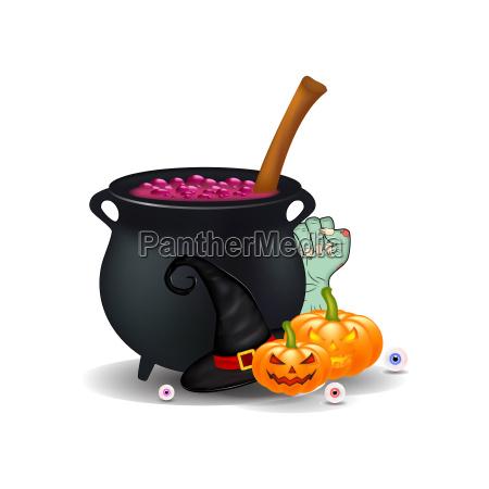halloween cartoon symbols composition vector objects