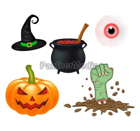 halloween cartoon vector set symbols collection