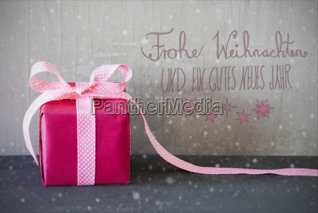 pink present calligraphy snowflakes gutes neues