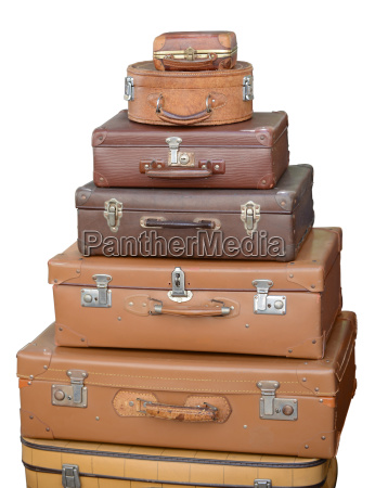 old suit case isolated on white