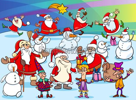 christmas cartoon characters group