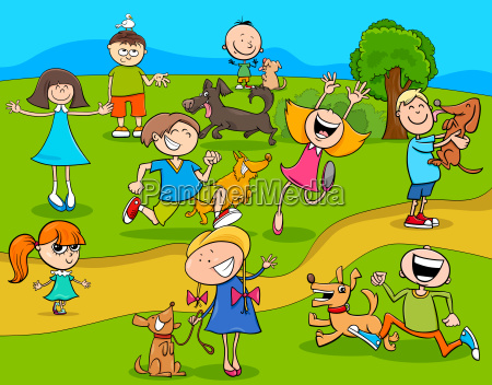 cartoon kids with dogs in the