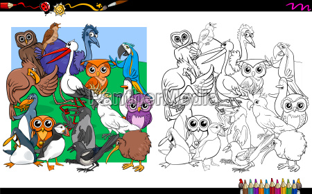 bird characters group coloring book