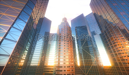 3d cityscape sun reflection