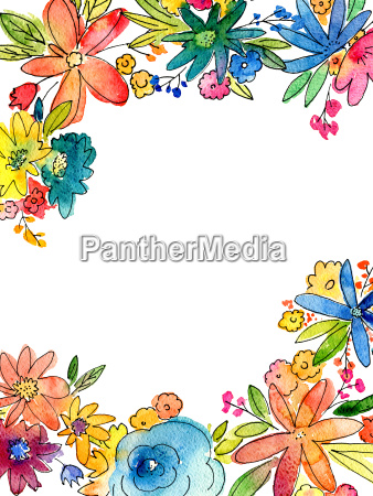 watercolor flower frame illustration with blank