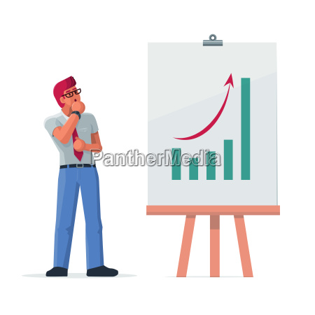 businessman look at growth graph