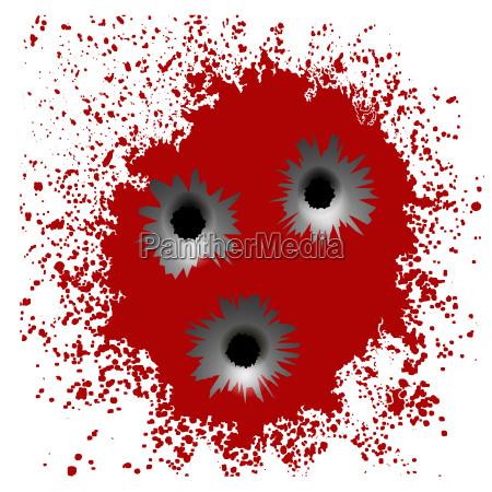 bullet holes on red blood splatter