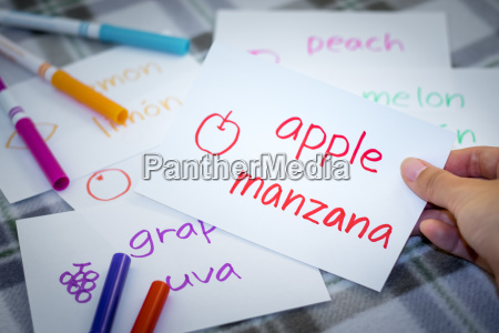 spanish learning new language with fruits