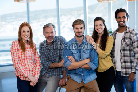 portrait of creative business team leaning