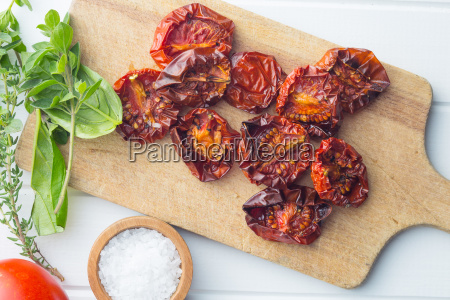 tasty dried tomatoes and herbs