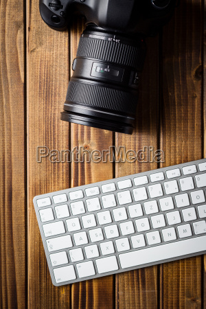 professional digital camera and computer keyboard