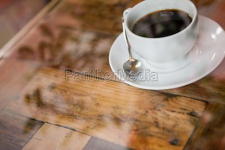 high angle view of black coffee