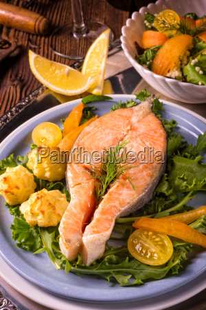 salmon with butter fried potato puree