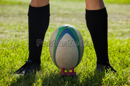 low section of rugby player standing