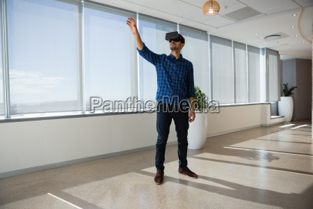 executive using virtual reality headset