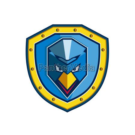 blue chicken mohawk shield icon