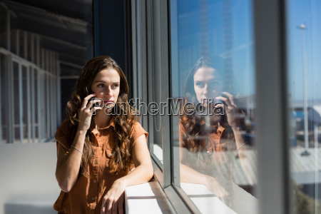 businesswoman talking on mobile phone by