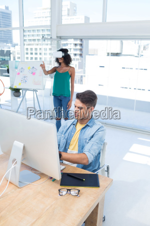 male executive working on computer while