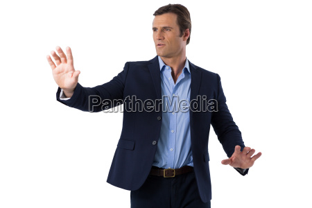 businessman touching the invisible screen