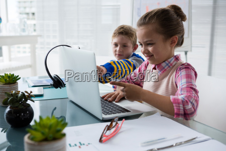 kids as business executive interacting while