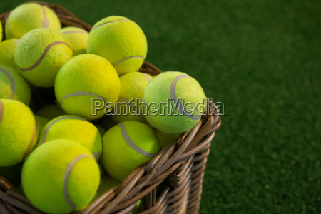 close up of tennis balls in