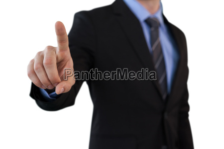 mid section of businessman touching index