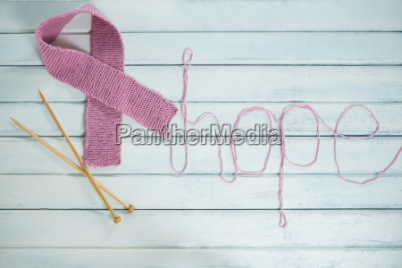 overhead view of pink breast cancer