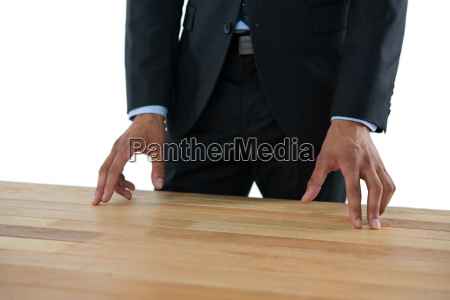 close up of businessman gesturing while