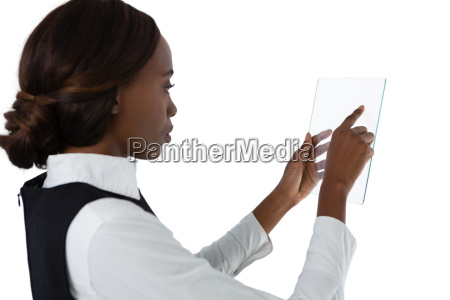 side view of businesswoman using glass