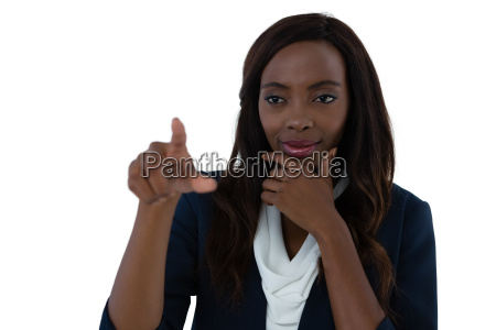 confused businesswoman with hand on chin