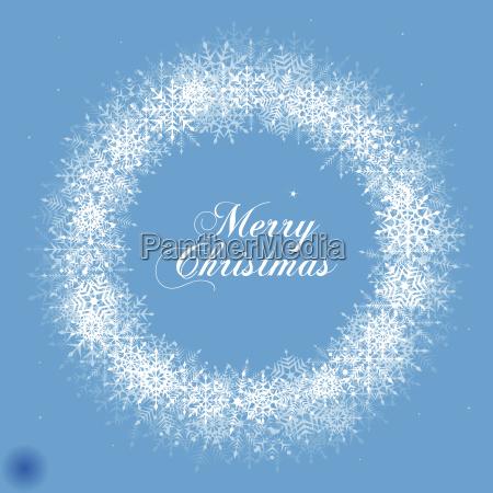 christmas snowflake wreath illustration