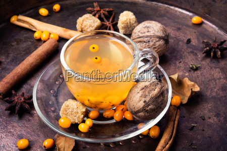 healthy tea with sea buckthorn