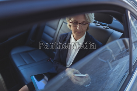 high angle view of businesswoman using