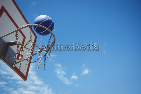 low angle view of blue basketball