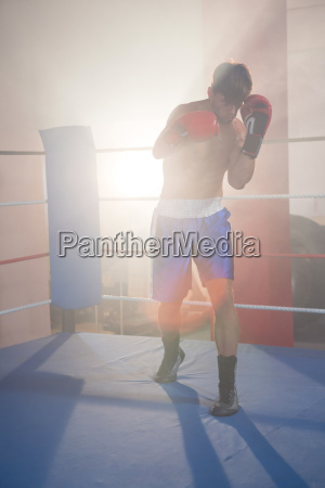 back lit male boxer punching in