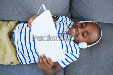 high angle view of boy using