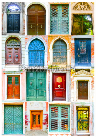 collage of picturesque doors at the