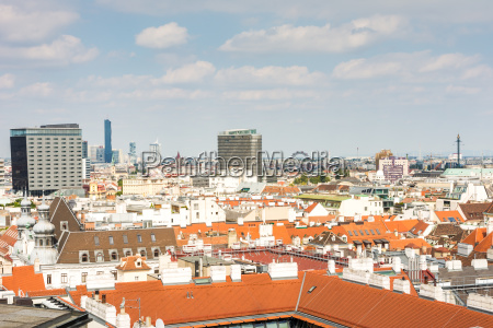 aerial view over the cityscape of